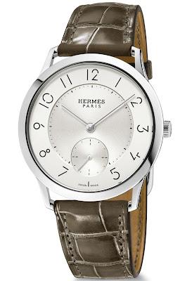 Hermès Slim d'Hermès 39.5mm watch with Opaline silvered dial