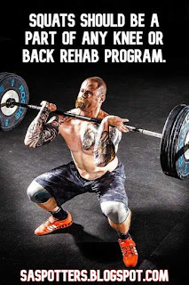 Squats should be a part of any knee or back rehab program.