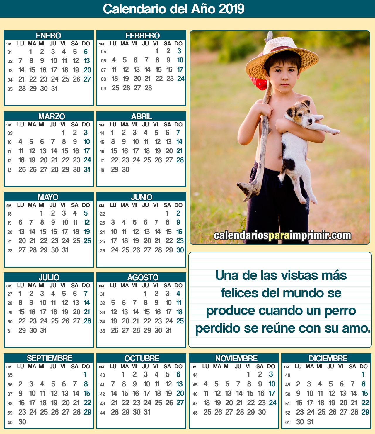 calendario para imprimir 2019 animales