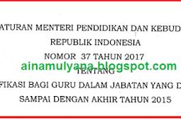 Permendikbud No 37 [Tahun] 2017 (Tentang) Serfitikasi bagi Guru DALAM Jabatan yang DIANGKAT SAMPAI dengan AKHIR [Tahun] 2015
