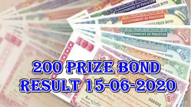 200 prize bond result 15-06-2020