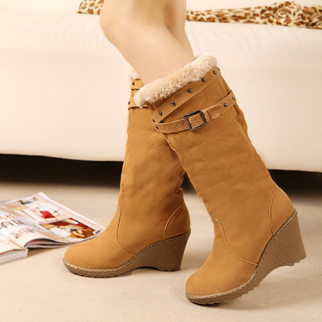 Double-Wear Round Toe Suede Wedges Boots