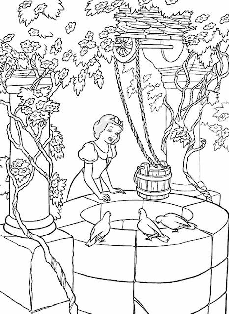 caricatura para colorear blanca Nieves en el pozo
