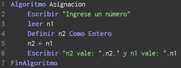 En qué consiste la asignación de una variable en PSeInt