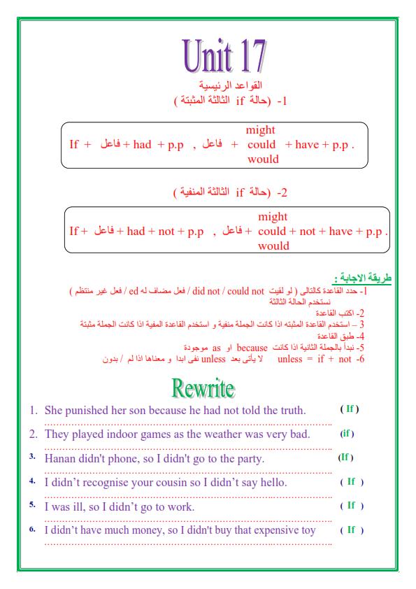 مراجعة قواعد اللغة الإنجليزية للصف الثالث الاعدادي الترم الثاني في 14 ورقة تحفة 4_013