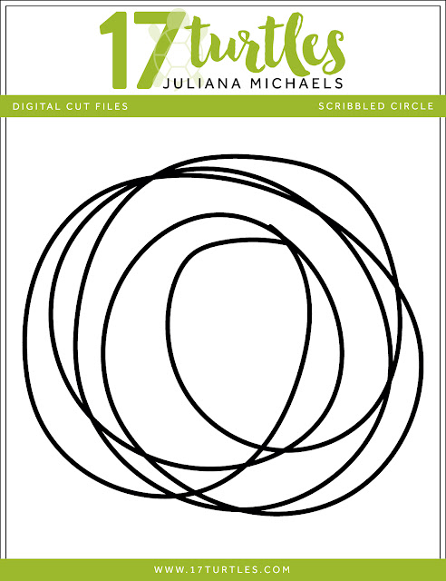 Scribbled Circle Free Digital Cut File by Juliana Michaels 17turtles.com
