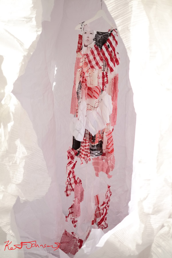 Red dress with screen print and pastiche by Megan Mcgrath and Zoe Pritchard - Fashion Runway Show presented in partnership with UTS Fashion Design Department at SCAF
