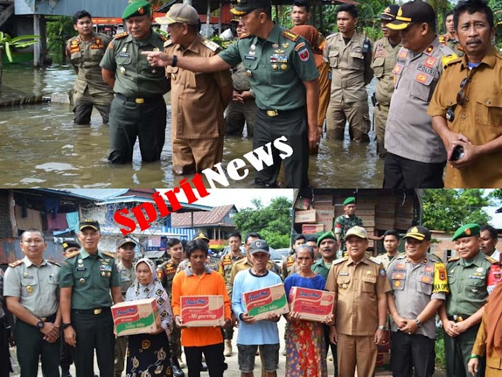 Danrem 141/Tp, Bersama Bupati Soppeng Memberikan Bantuan Pada Korban Bencana Banjir
