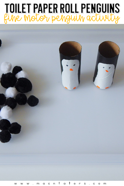 Fine motor activities for kids are very important in helping strengthen those fine hand muscles which then leads to helping with writing skills. These adorable toilet paper roll penguins not only use recycled materials, but when set up as a fine motor invitation with some pom poms, adds the perfect fine motor activity to your penguin themed tot school week.