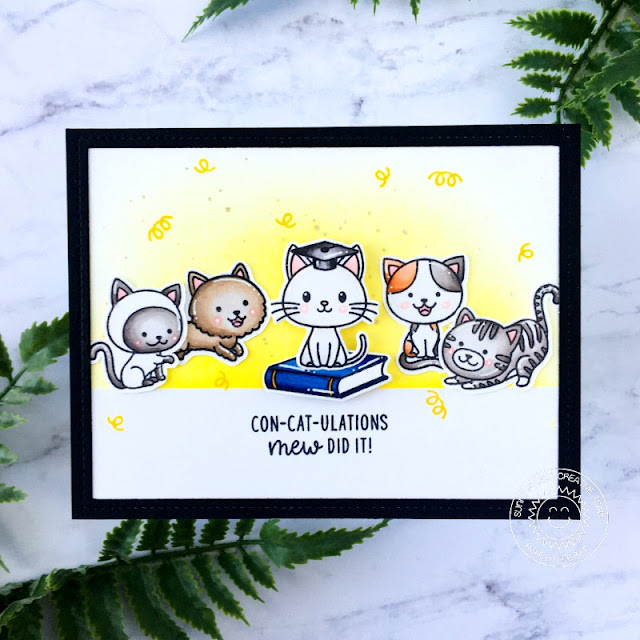 Sunny Studio Stamps: Grad Cat Frilly Frame Dies Purrfect Birthday Cat Themed Congratulations Card by Ashley Ebben