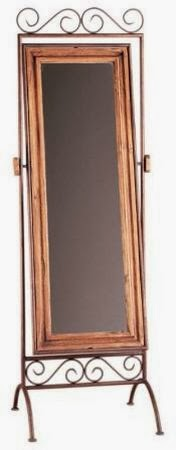 Espejo de pie rustico, espejo forja y madera, espejo rustico pie