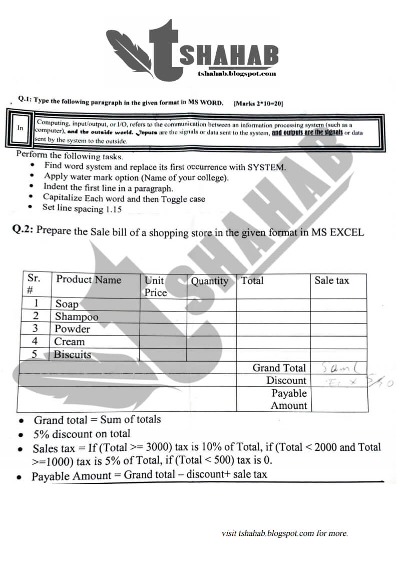 Introduction to ICT UOS Past Papers and Solutions
