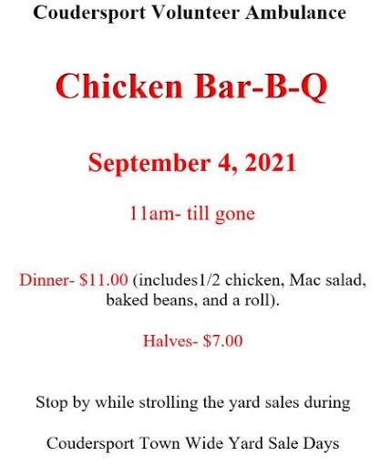 9-4 Coudersport Volunteer Ambulance Chicken BBQ