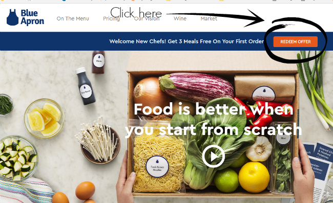 How to redeem the 3 meals free from Blue Apron coupon link