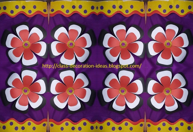 Decorated Flowers With Background And Borders To Decorate Class