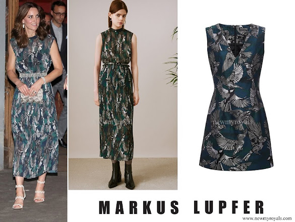Kate Middleton wore Markus Lupfer teal bird jacquard dress