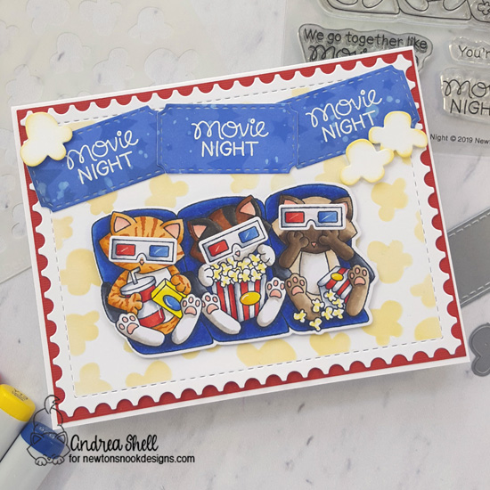 Movie Night Card by Andrea Shell | Newton's Movie Night Stamp Set, Popcorn & Cascading Stars Stencils, and Framework Die Set by Newton's Nook Designs #newtonsnook #handmade