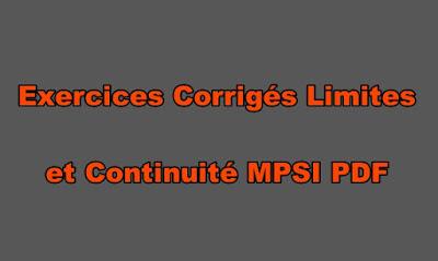 Exercices Corrigés Limites et Continuité MPSI PDF