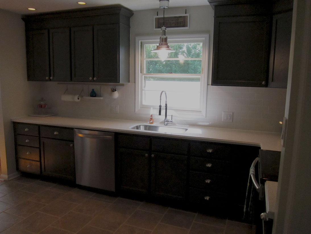 remodelaholic kitchen redo with dark gray cabinets white subway tile