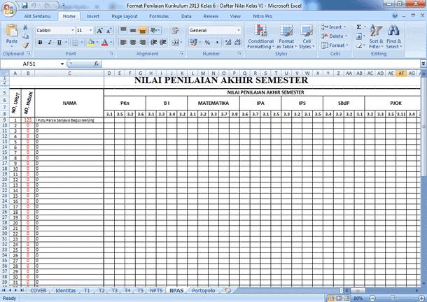 Contoh Format Penilaian Kurikulum 2013 untuk SD/MI