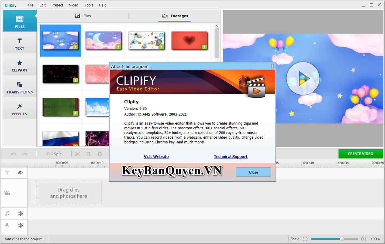 Download AMS Software Clipify 9.35 Full Key, Phần mềm biên tập Video nhỏ gọn và nhiều hiệu ứng.