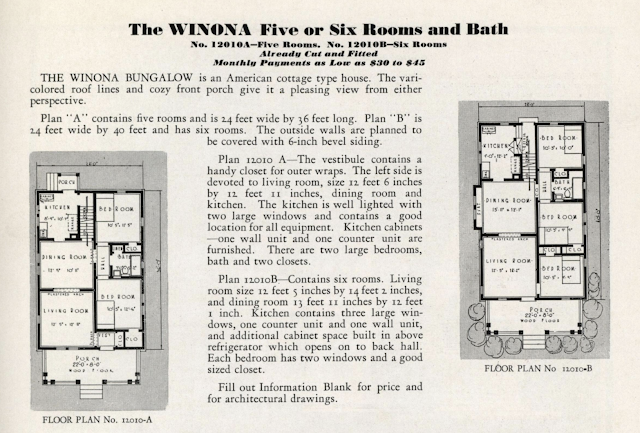 black and white catalog image of Sears Winona floor plans from 1932 catalog