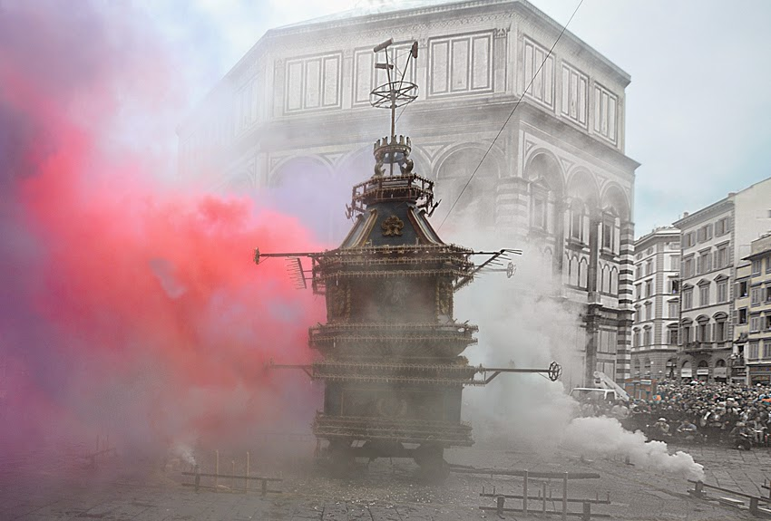 Explosion of the Cart in Florence, Italy for Easter