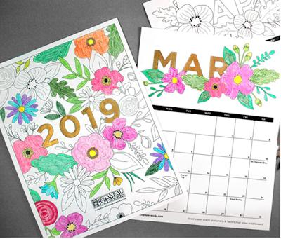 free coloring book 2019 calendar