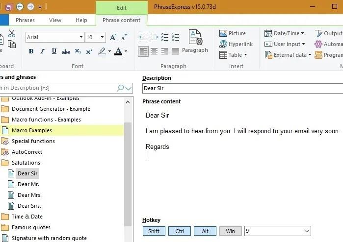 نافذة برنامج Text Expansion Phraseexpress