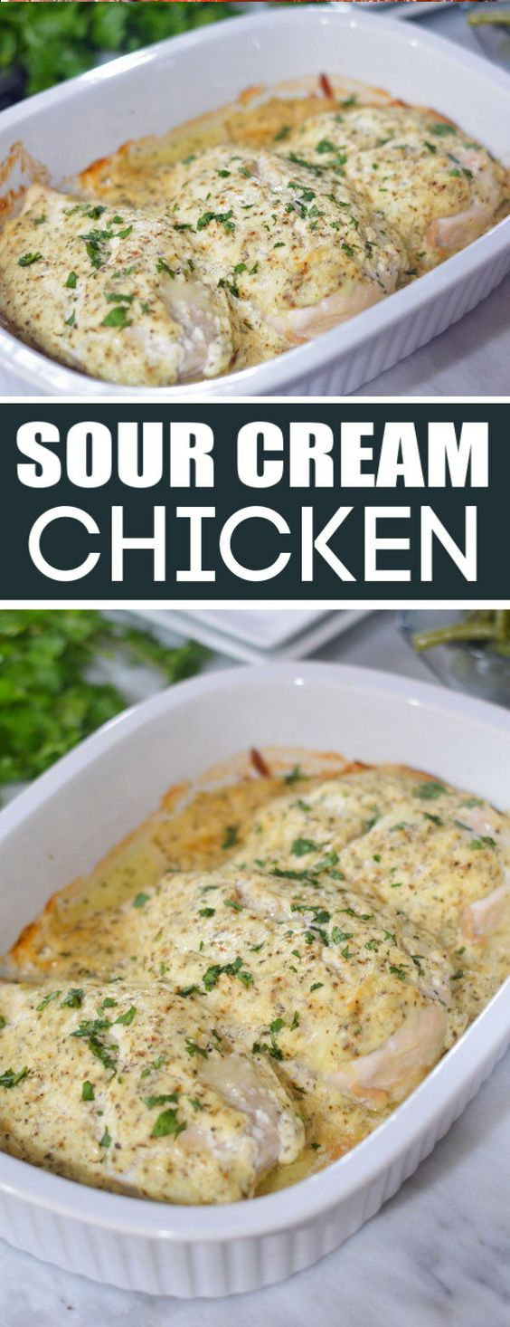 Sour Cream Chicken is an easy and delicious weeknight meal. Boneless chicken breast is covered in a sour cream sauce and cooked in the oven.