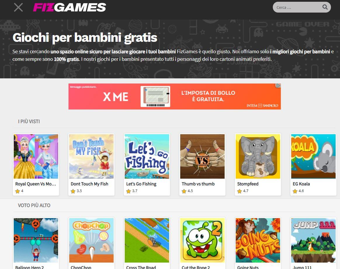 fizgames categoria giochi per bambini gratis