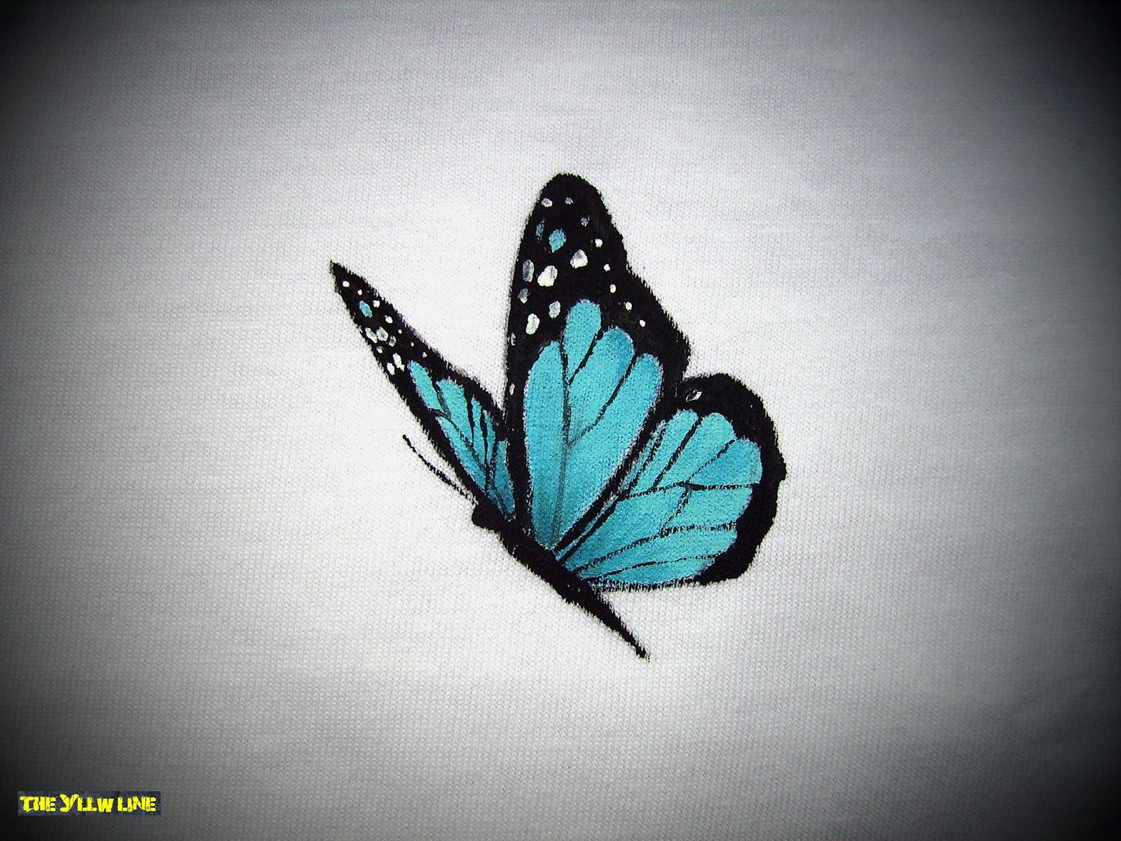 THE YLLW LINE Camiseta Amapolas y mariposa pintada a mano