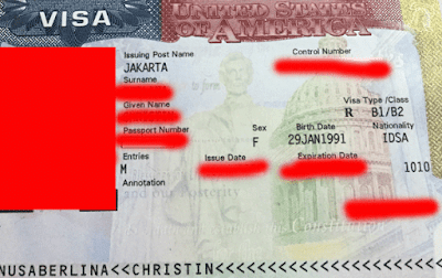 contoh visa amerika yang sudah tertempel di paspor