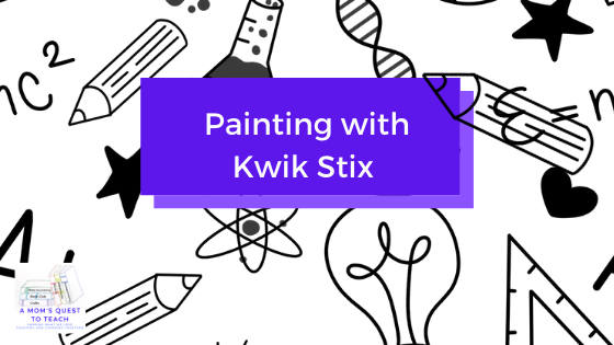 Text: Painting with Kwik Stix; background school clipart