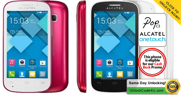 Factory Unlock Code for Alcatel One Touch POP C3