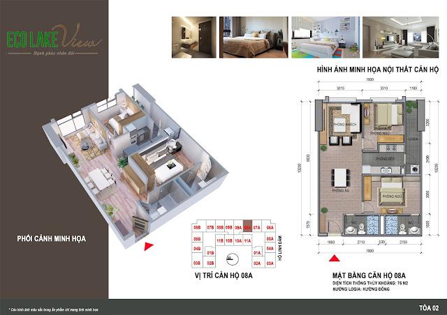 Thiết kế căn hộ 08A tòa HH2 chung cư ECO LAKE VIEW