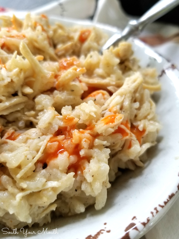 Southern Style Crock Pot Chicken & Rice! An easy slow cooker recipe for a Carolina favorite made with tender stewed chicken and long grain rice. No precooking the chicken and no instant rice – everything cooks in the crock pot! #slowcooker #crockpot #chicken #rice #southern