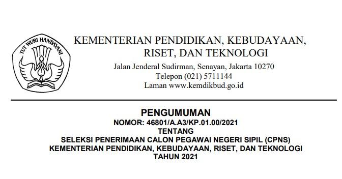 Download Formasi CPNS Kemendikbud 2021 Beserta Surat Pernyataan