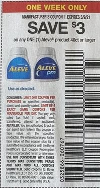 """$3.00/1 Aleve Or Aleve Pm Coupon from """"SMARTSOURCE"""" insert week of 5/2/21."""