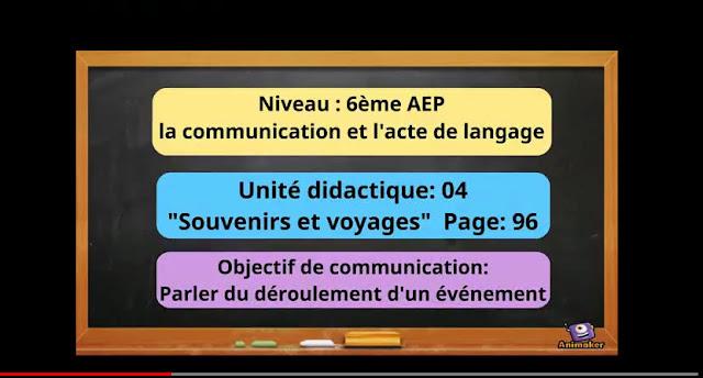 Communication et acte de langage_6ème_AEP Souvenirs et voyages UD4