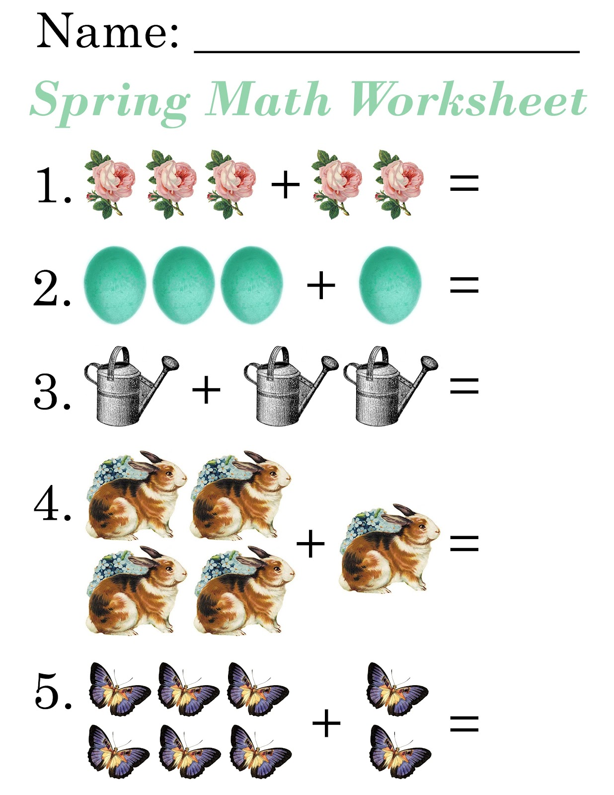 Lilac Lavender Kids Spring Math Worksheets