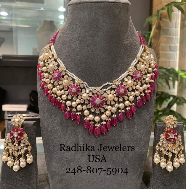 Ruby Drops Polki Sets by Radhika Jewellers
