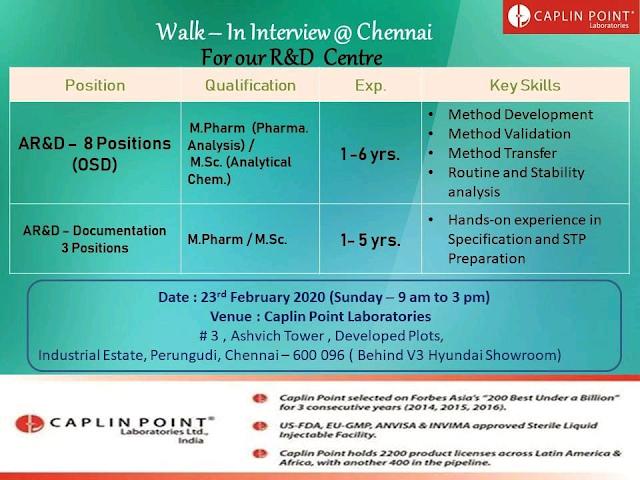Caplin Point Laboratories | Walk-in for R&D on 23 Feb 2020 | Chennai