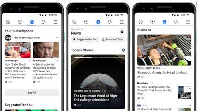 Facebook irá ter uma secção dedicada a notícias