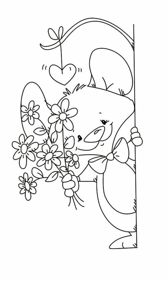 Tranh tô màu chú chuột và bó hoa