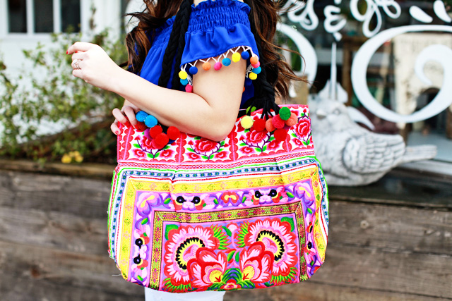 Embroidered Pom Pom Tote & Pom Pom Top