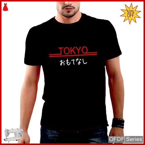 OFDF271 Kaos Pria Tokyo Merah Modis BMGShop