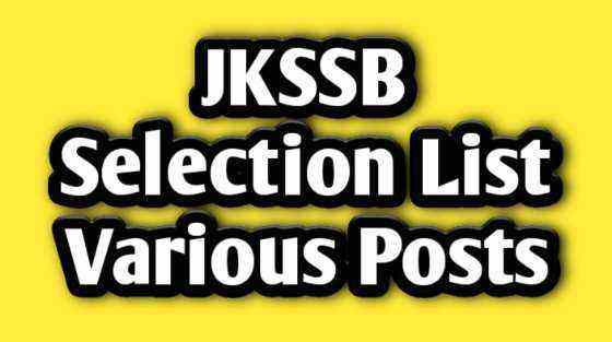 [J&K] JKSSB Merit List Out for Junior Assistant, Driver & Patwari - JKSSB Final Selection List