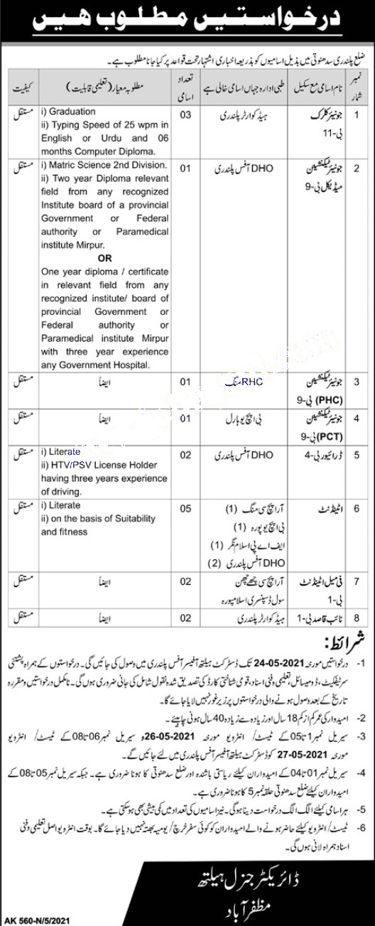 Health Department AJK at Govt Jobs in Palandri 2021
