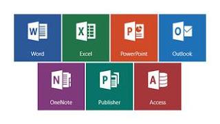 Na figura pode ser visto os ícones dos seguintes aplicativos da Microsoft Office: Word, Excell, PowerPoint, Outlook, OneNote, Publisher e Access